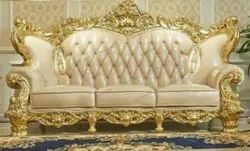 Heritage Gold Wooden luxury carved antique sofa set, For Home, Size: Standard