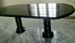 Dimensions: 4 X 2 Feet (l X W) Black Granite dining table