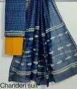 Bagru Hand Block Print Chanderi Silk Dress Material With Dupatta