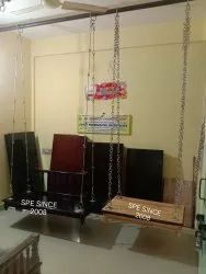 Wooden Swing With Brass Chain