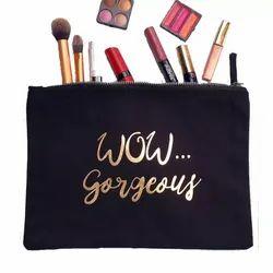 Gold Printed Cosmetic Bag Bulk Organic Cotton Canvas Pouch Bag