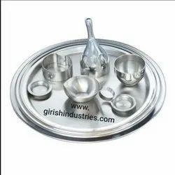 Stainless Steel Pooja Thali Set