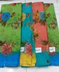Floral Print Casual Wear Ciffon Saree, 6 m (with blouse piece)
