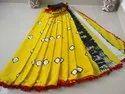 Printed Pom Pom Pom Cotton Mulmul Saree With Blouse Piece
