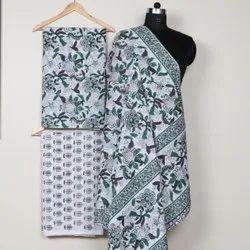 Hand Block Printed Cotton Suit, Cotton Dress Material, Jaipuri Hand Block Suit,
