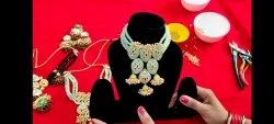 red and golden Party Wear Necklace Set, Occasion: Wedding, Size: Free