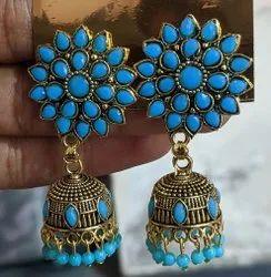 Gold Oxidized Earrings