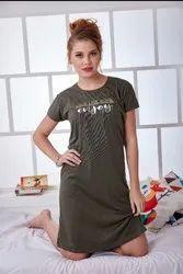 Hoisery 180 gsm Ladies Short Nightwear, Size: Medium to xxl