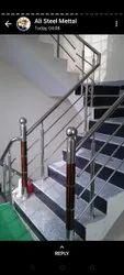 Bridge Silver Steel Balcony Railing, For Home, Material Grade: 304