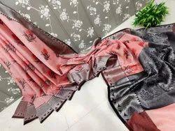 Party Wear BROCADE Chanderi Tissue Silk Saree, 5.5 m (separate blouse piece)