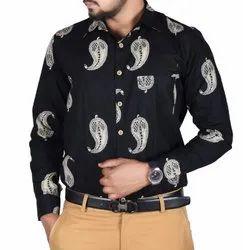 Black Sanganeri printed cotton shirt, Size: M To Xxl