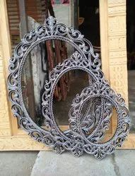 Brown Carving carved mirror frame, For home and decor, Size: 4x3