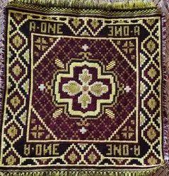 Black and Purple Cotton Printed Prayer Mat, Size: 23x23inch