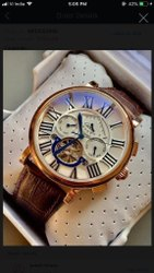 Round Men Leather Belt Wrist Watch, For Personal Use