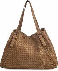 ESHTA Brown Handwoven Leather Bag