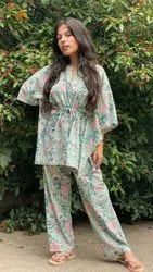 Ladies Night Wear Printed Sleepwear Top And Pyjama