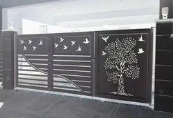 Sliding Modern Stainless Steel Modular Main Gate, For Residential