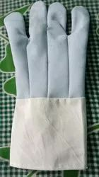 White Canvas Leather Hand Gloves, For Industrial, Size: Small