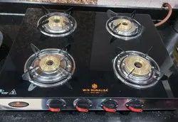 Glass Four burner gs stove, For Kitchen, Model Name/Number: Legion Model