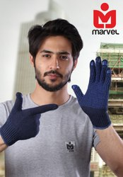 Blue Knitted Dotted Gloves Standard Quality