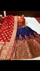 Semi Stitched Designer Banarasi Silk Lehenga Choli