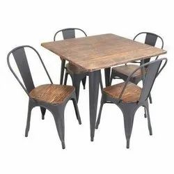 Metal And Wood Brown Restaurant furniture hotel furniture, For What Proof, Size: 48*30*30