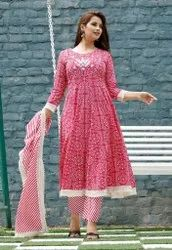 Frock Style Kurti With Pant And Duptta