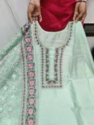 Psf Net Modal Chanderi With Heavy Embroidery Dress Material, For Desginer Embrodriy Duptta