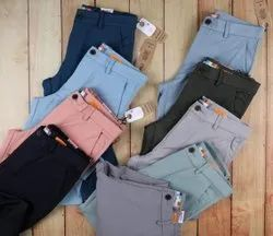 Plain Casual Wear Imported 4 Way Lycra Trousers