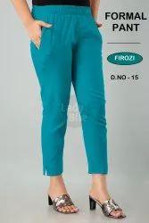Plain 18 colors available Cotton Ladies Pant