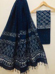 Indigo Dabu Print Cotton Dress Material With Dupatta