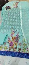 Sky Blue Printed Georgette Suit Fabric