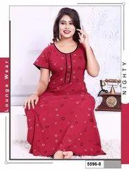 Women Premium Quantity Cotton Hosiery Printed Night Gowns