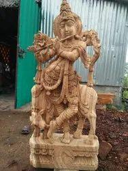 Wooden Krishna 4 feet