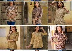 Formal Wear 3/4Th Sleeves Block Printed Ladies Tops, Size: S to xxl