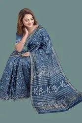 Bagru Hand Block Print Cotton Kota Doria Saree With Blouse Piece......