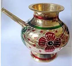 Golden Brass Karwa Chauth Karwa Pot, For Puja