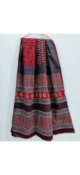 Bagru Hand Block Ajrakh Print Cotton Mulmul Saree