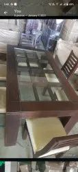 Wood And Fabric Choice Dinning Table With Glass Set 6chair