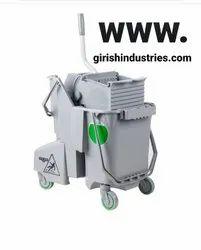 Unger COMBR Side-Press Restroom Mop Dual Bucket Combo, 8gal, Plastic