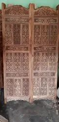 Rose Wood Brown Wooden Room Divider Partition Screen, 4