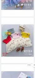 3 clr Girl Imported Kids Frock