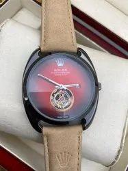 Leather Rolex Wrist Watch