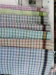 Cotton Checks And Plain Fancy Towel, 250-350 GSM, Size: 60*30