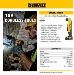 DEWALT DCD740C118V, 10mm, Right Angle Drill Driver