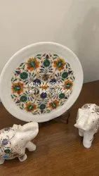 White Marble inlay work plate, For Decorative