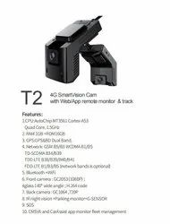 Black Dash Cam With Dual Camera 4G, For in Vehicle Surveillance, Model Name/Number: T2