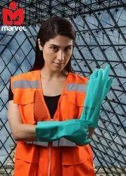 Green Flocklined Nitrile Gloves Heavy Duty
