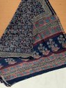 Bagru Hand Block Ajrakh Print Chanderi Silk Saree