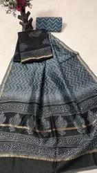 Printed Chanderi Silk Dress Material with Dupatta.....